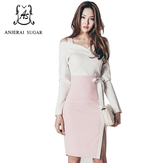Spring women dress vestido waist white sexy Slash neck long sleeve and slim pink bownet Split ends OL office package hip dresses