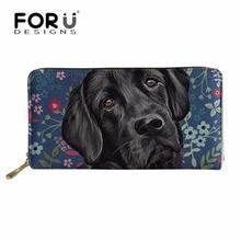 FORUDESIGNS Brand Luxury Women Black Labrador Wallet&Purse Long PU Leather Card Holder Feminine Phone Wallet Ladies Money Bag