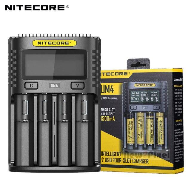 100% الأصلي NITECOR UM4 C4 VC4 LCD USB شاحن بطاريات ذكي ل ليثيوم أيون IMR INR ICR LiFePO4 18650 14500 26650 AA 3.7 1.2V 1.5V