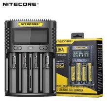 100% orijinal nitecore UM4 C4 VC4 LCD USB akıllı pil şarj cihazı Li ion IMR INR ICR LiFePO4 18650 14500 26650 AA 3.7 1.2V 1.5V