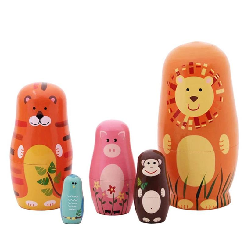 5Pcs Cute Wooden Dolls Animal Paint Nesting Babushka Russian Dolls Children Early Education Birthday Matryoshka Gift babushka baba yaga