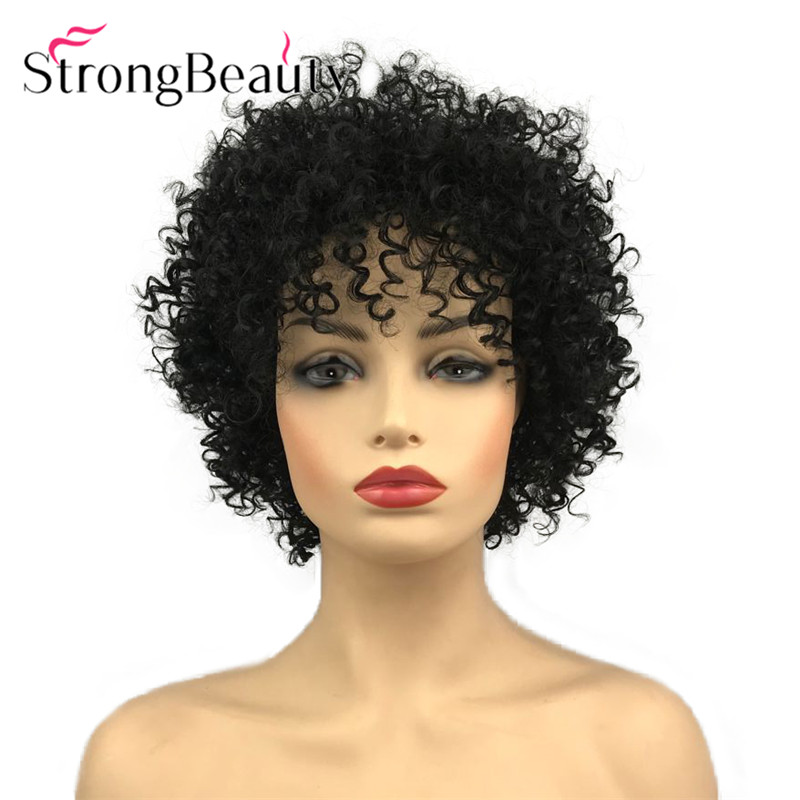 StrongBeauty Short Curly Afro Black Hair Women Wigs Natural Looking Fashion African American Synthetic Wigs 8 Inch