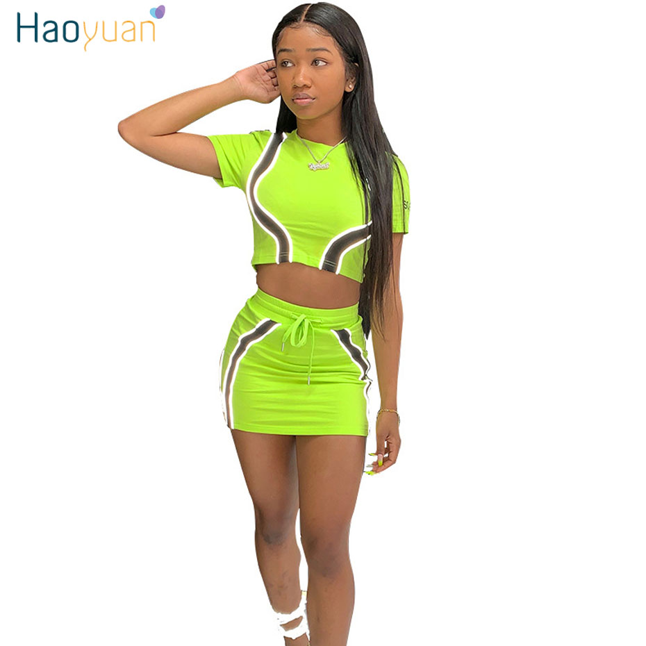 HAOYUAN Neon Reflective Striped Splice Sexy 2 Piece Set Women Crop Top And Mini Skirt Sexy Club Outfits Two Piece Matching Sets