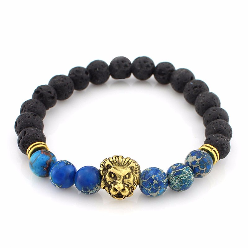 black-lava-stone-bracelets-with-gold-lion-with-blue-colored-natural-stones