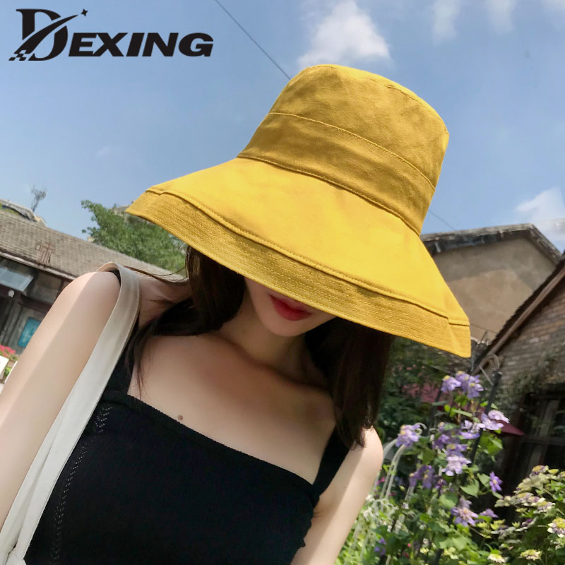 26fece062775ab 2019 anti UV wide Brim cotton linen summer hat for women vacation foldable  beach hat bucket hat large brim korean sun hat-in Sun Hats from Apparel ...