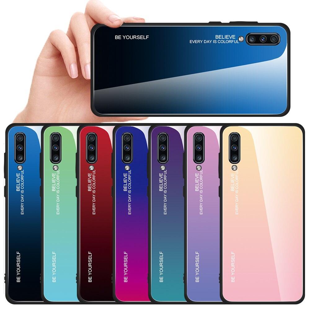 Градиентный чехол для Samsung Galaxy A70 A50 A30 A10 A20 A40 A60 A 50 60 70 30 S, тонкий глянцевый Жесткий силиконовый чехол из закаленного стекла