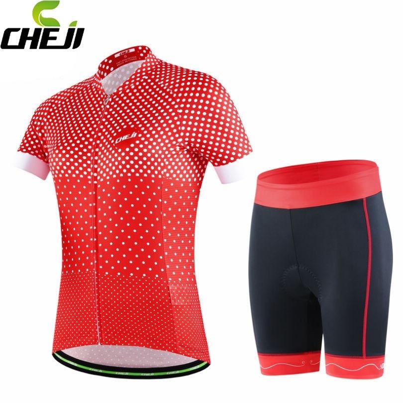 CHEJI Bike Ropa Ciclismo Women Riding Cycling Jerseys Short Sleeve Tops T shirt Shorts Bicycle Clothing