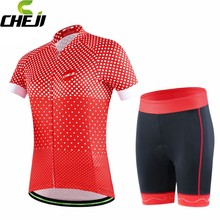 CHEJI Bike Ropa Ciclismo Women Riding Cycling Jerseys Short Sleeve Tops T-shirt + Shorts Bicycle Clothing Red