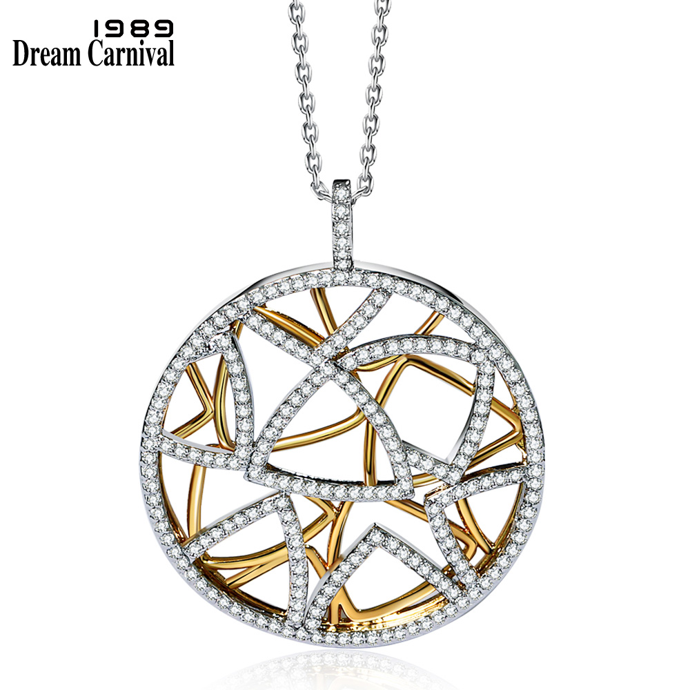 DreamCarnival 1989 Muti Triangles Round Pendant Necklace For Women 2 Tones Gold Color Collana Zirconia Wedding Jewelry WP6432