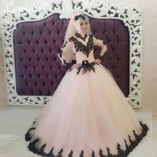 Robe De Mariee Long Sleeves Wedding Dress Hijab Black Appliques Beads Muslim Wedding Dress Colorful Bridal Dresses Casamento