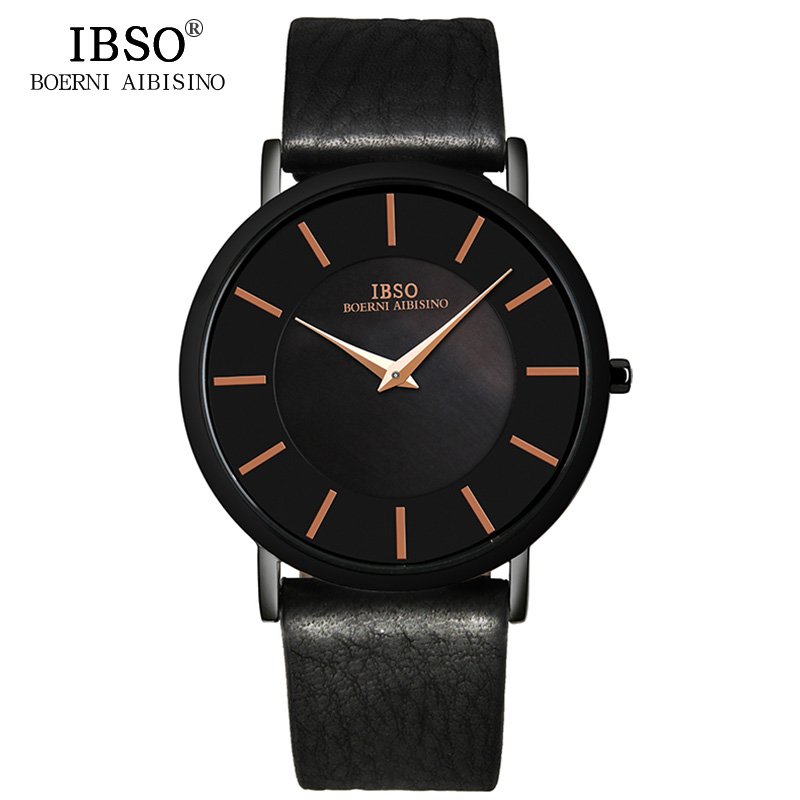 IBSO 2017 Mens Watches Brand Luxury Genuine Leather Strap Fashion 6.8MM Ultra-Thin Quartz Watch Men Waterproof Relogio Masculino kcchstar 18k crystal ring with artificial diamond golden purple