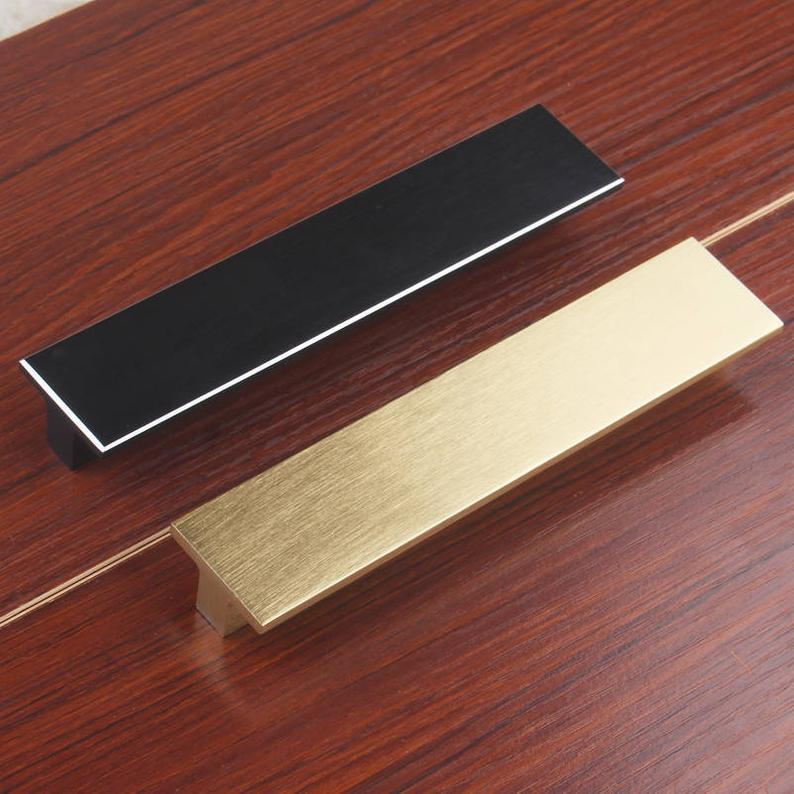 0 6 quot 2 5 quot 3 75 quot 5 quot 6 3 quot Brushed Gold Black Kitchen Cabinet Handles Knobs Dresser Pull Knob Drawer Pulls Door Handles Modern in Cabinet Pulls from Home Improvement