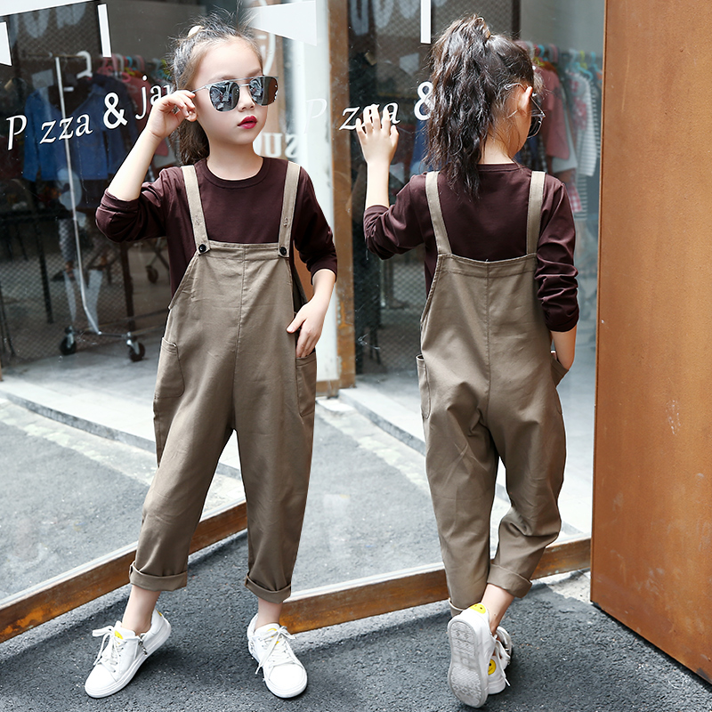 Baby Girl Clothes Set Teenagers 4 5 6 7 8 9 10 11 12 13 Years Autum Solid Long Sleeve Shirt + Overalls 2pcs Children Clothing 4 5 6 7 8 9 10 11 12 13 years denim girls clothes set teenagers baby girl long sleeve jeans outwear floral dress 2pcs clothing