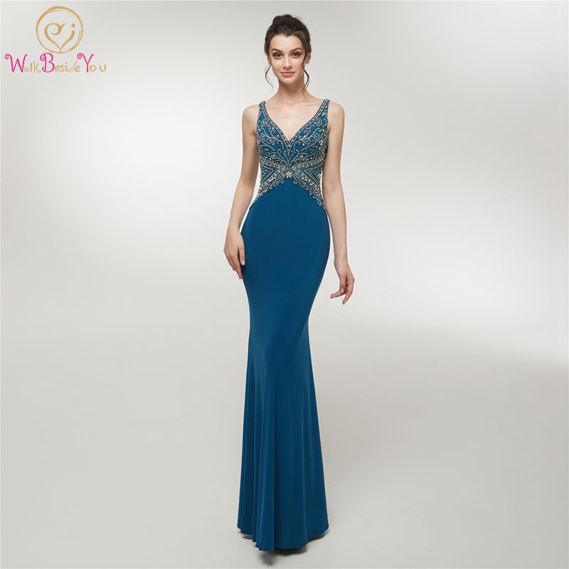 Elegant Deep V Neck Evening Dresses Personal Elastic Jersey Beaded Crystal Women Party Formal Sleeveless Mermaid Lace Up Gown