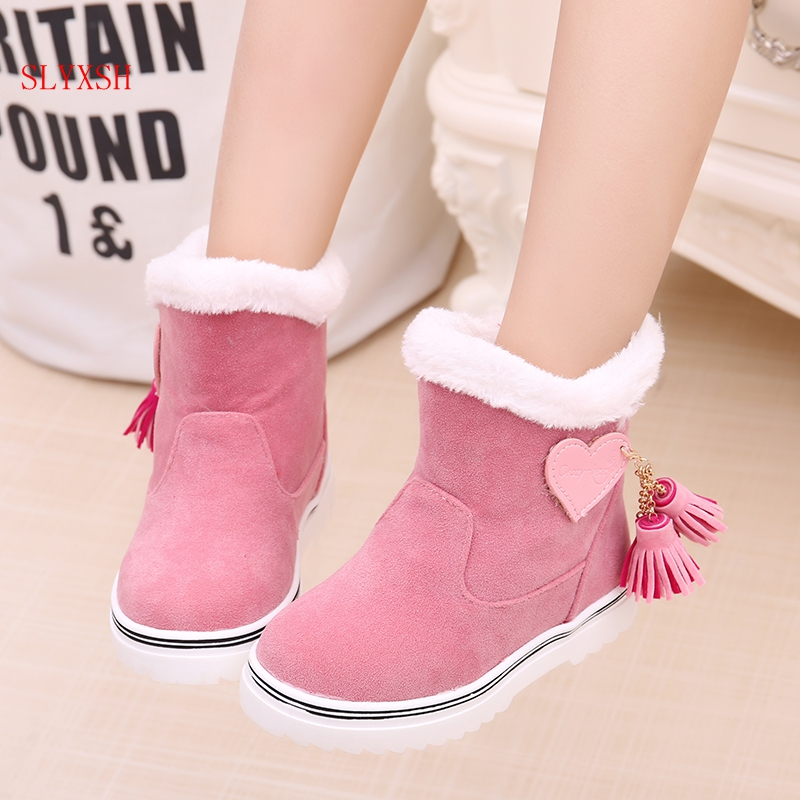 SLYXSH Fringe Girls Boots Fur Thick Warm Children's Shoes New Shoes For Boys Top Quality Baby Cotton Kids Snow Boots Winter