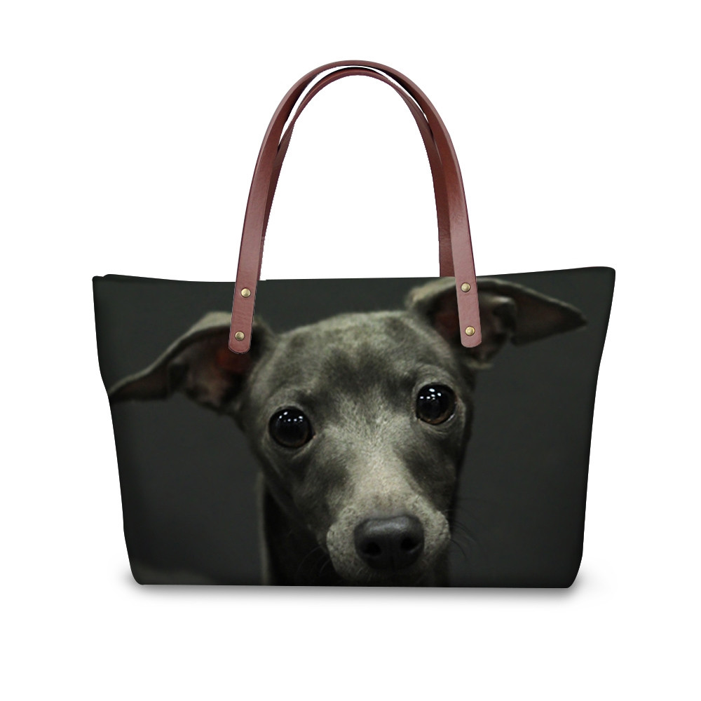 FORUDESIGNS Cute 3D Amime Greyhound Dog Print Women Large Tote Bags Fashion Shoulder Bag Brand Design Female Shopping Handbags instantarts large capacity women handbags high quality lady top handle bag tape print brand design shopping tote shoulder bags
