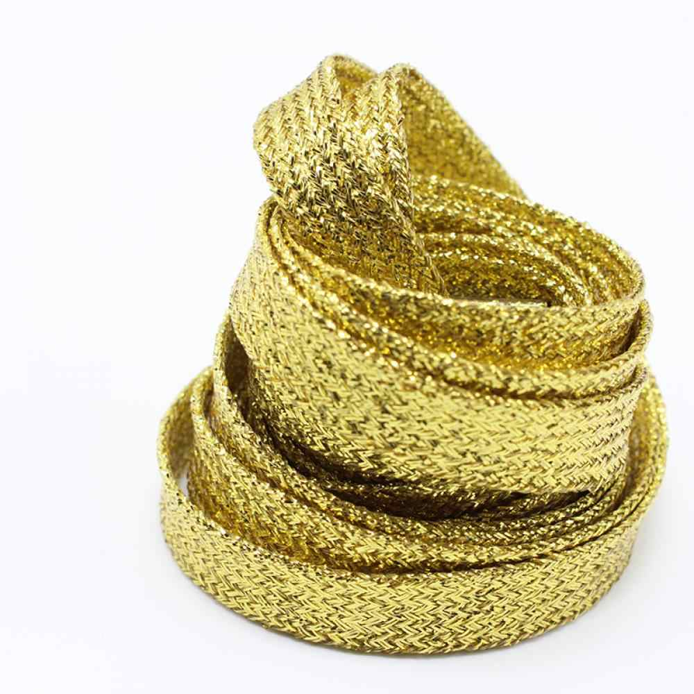 1 çift Parlak Altın ve Gümüş iplik spor ayakkabılar Düz Ayakabı Bootlaces Ayakkabı danteller Dizeleri Ücretsiz Kargo