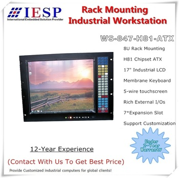 "8RU Rack Mount Industrial Workstation, 17"" LCD, H81 Chipset, 4th CPU, 7 * Expansion slot, 8U Rack mount industrial computer"