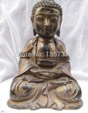 Shitou 00560 Chino de Bronce Antiguo HEALING MEDICINA Bhaisajyaguru Sakyamuni BUDA estatua de Buda