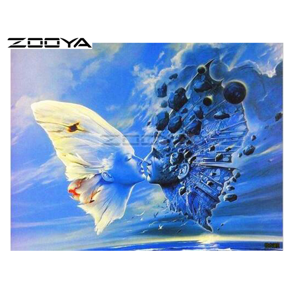 ZOOYA 5D DIY Diamond Butterfly Wings Couple Character Diamond Painting Cross Stitch Square Drill Mosaic Decoration BK1103