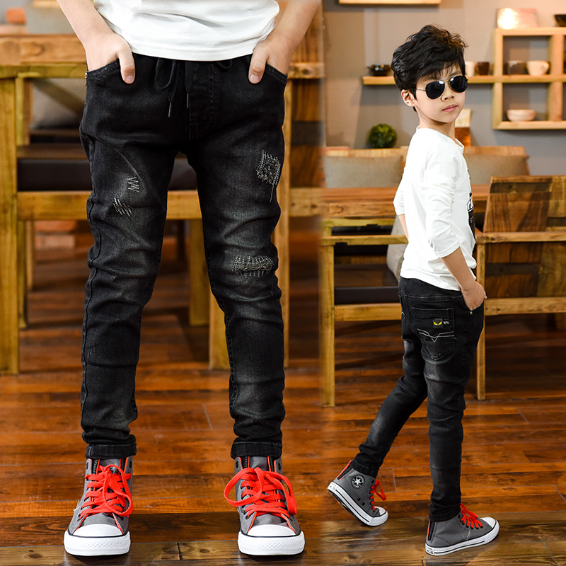 FYH Big Boys Jeans Elastic Waist Denim Pants Children Clothing Spring Autumn Teenager Kids Trousers Jean Pants 5-14 Years boys pants kids jeans 2018 casual spring solid cotton mid elastic waist pants for boy jeans kids clothing children trousers p023