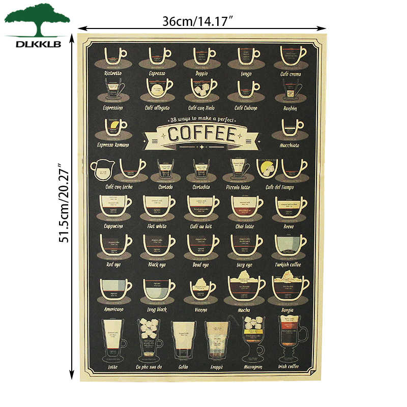 DLKKLB Vintage Poster Coffee Collection Bars Kitchen Drawing Poster Adornment Retro Wall Sticker  51.5x36cm Home Decoration