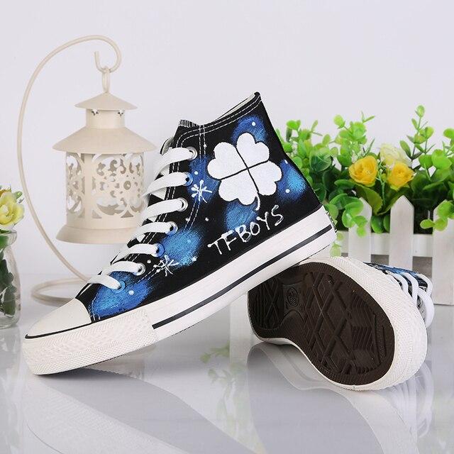 Luminous Tfboys Exo Hand Painted Graffiti Canvas Shoes High Lacing Female Cloth Shoes