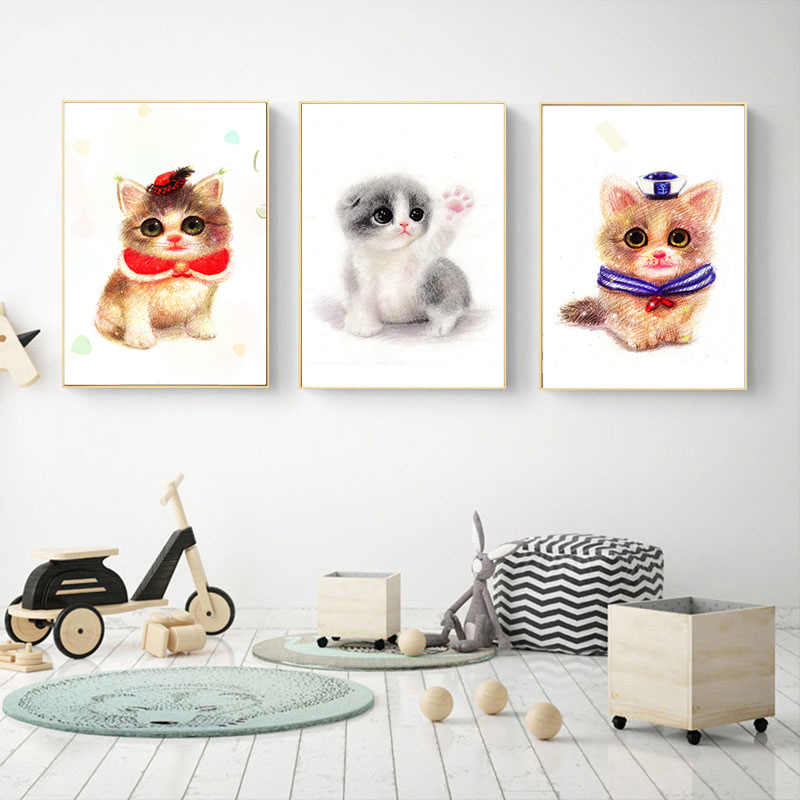 3 Dogs Cartoon Cute Baby Rooms Pictures Oil Canvas Printings for Kidsroom Children's Room  Animals Art Home Decor 3 Pics 40x50