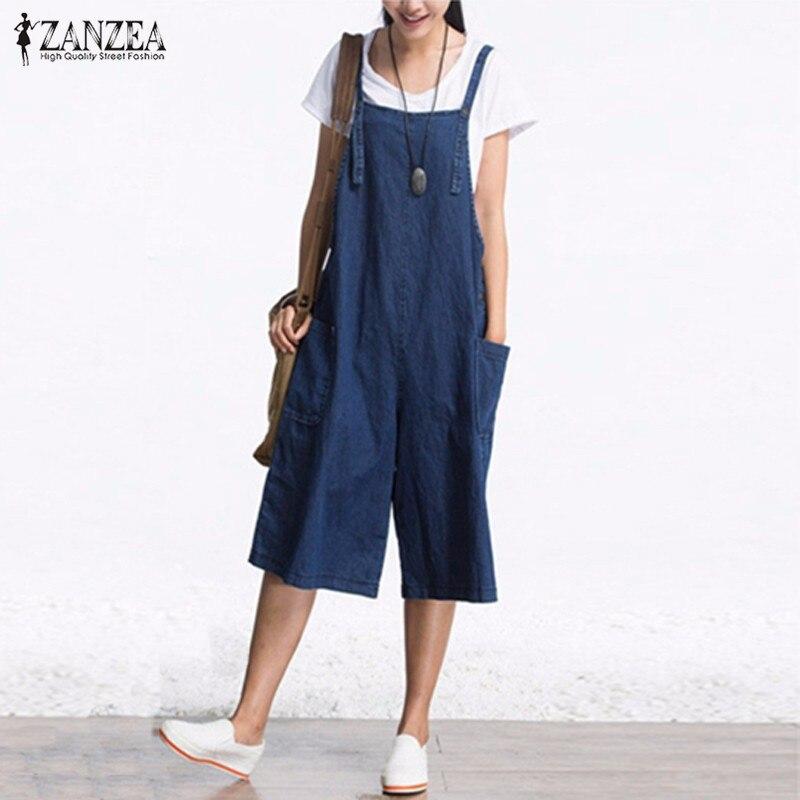 2019 ZANZEA Womens Jumpsuits Denim Blue Retro Rompers Sleeveless Adjustable Strap Pockets Button Wide Leg Calf Length Overall