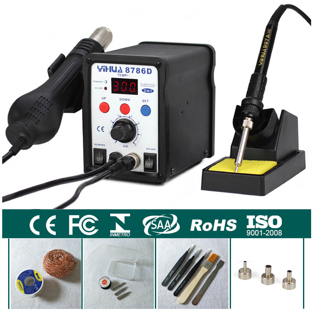 Rework Station Digital Display Iron Soldering Stations SMD Hot Air Gun Soldering Station Welding Soldering Supplies YIHUA 8786D