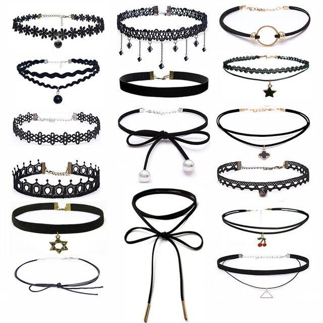 CHXINHNS fashion style Choker Necklace Black Lace Leather Velvet strip women Col