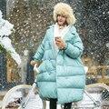MM092 Новое Прибытие 2016 женщин пальто двойной брестед негабаритных длинные толстые теплые белая утка вниз зимняя куртка