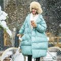 MM092 Nova Chegada 2016 revestimento das mulheres double breasted longo de grandes dimensões grosso pato branco quente para baixo jaqueta de inverno