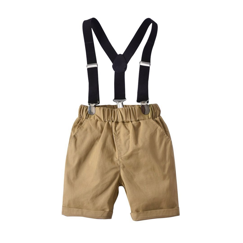 Little Boys Summer Outfits Stripe Short Sleeve Plaid Vest Shirts Brown Shorts 3 Piece Gentleman Clothes Gentlemen Suit in Clothing Sets from Mother Kids