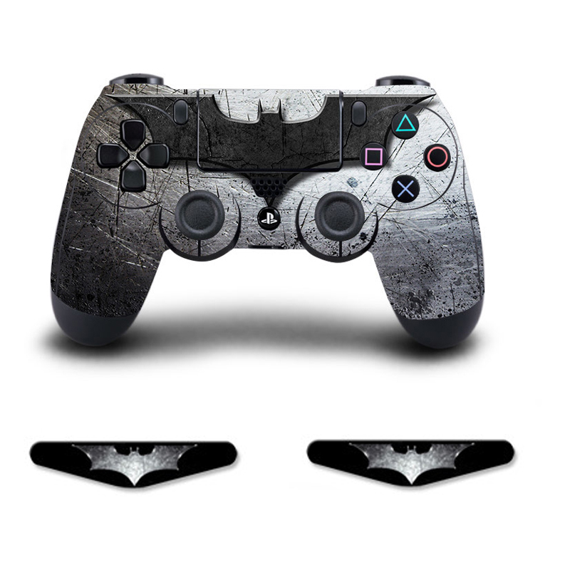PS4 Controller Skin Sticker Vinly Decal Cover + 2 Light Bar for Sony PlayStation 4 PS 4 DualShock Wireless Gamepad -Batman image