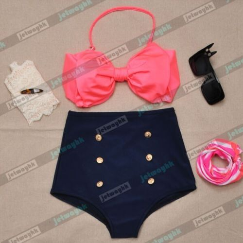 Vintage Retro Pin Up High Waisted Bikini Bow Swimsuit Coral Navy Blue S M L  XL 9e768a00947