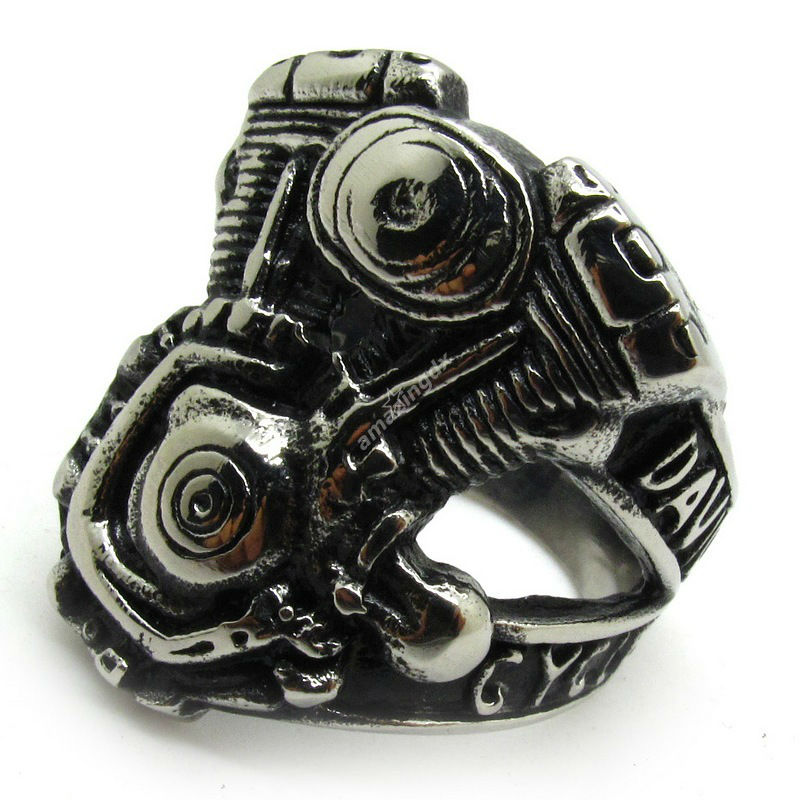 fashion rings black silver biker motorcycle ring punk cool mens boys stainless steel motor cycle cool - Biker Wedding Rings