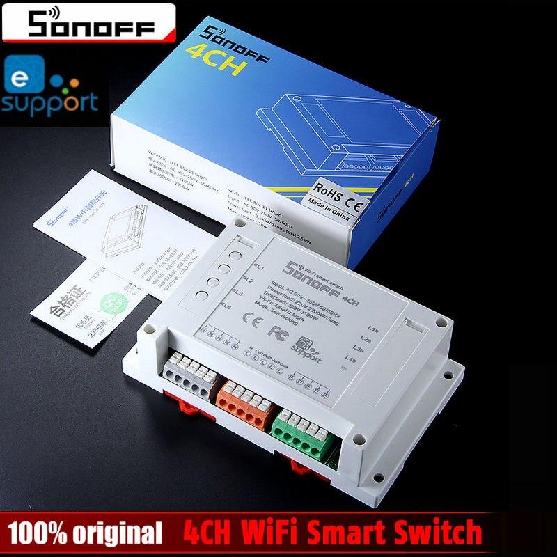 Sonoff 4CH Wifi Smart Switch Universal-fernbedienung Intelligente Schalter Interruptor 4 Kanal Din-schienenmontage Smart Home Wlan-schalter