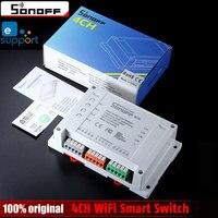 Sonoff 4CH Wifi Smart Switch Universal Remote Intelligent Switch Interruptor 4 Channel Din Rail Mounting Smart