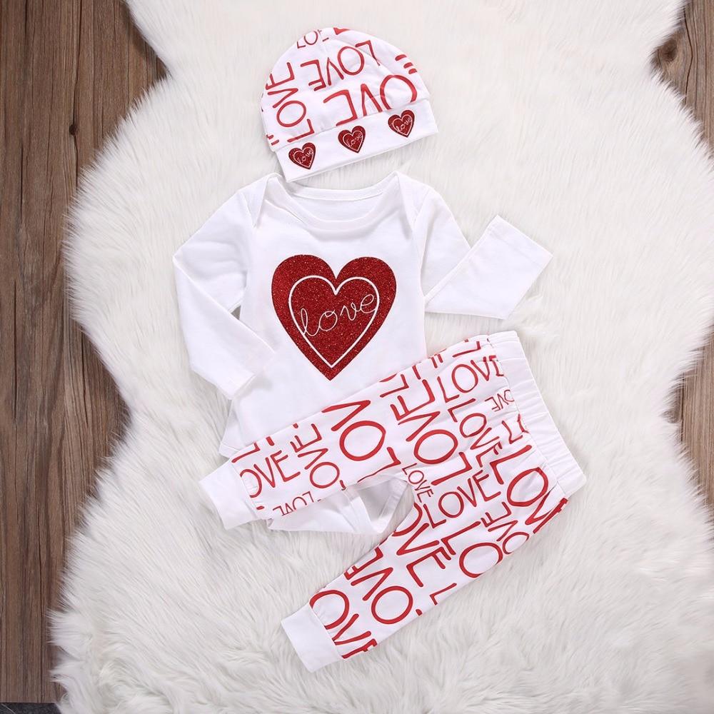 Bebê recém-nascido Bebe Menina Infantil Roupas de Manga Longa Vermelho Coração Branco Amor Bodysuit Calças Chapéu 3 PEÇAS de Roupas de Bebê Meninas conjuntos