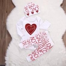 3 Pcs Conjuntos de Roupas Meninas Do Bebê do bebê Recém-nascido bebe roupa Da Menina Infantil de manga Longa tops coração vermelho + Love Letter Imprimir Calças + chapéu