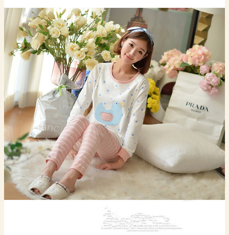 6ae0be551cd1a 2017 Spring and Autumn new Maternity clothes cotton printed pajamas maternity  clothing postpartum fashion home clothing-in Sleep & Lounge from Mother &  Kids ...