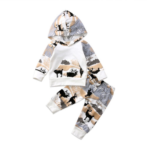 Newborn Infant Baby Boys Girls Deer Hooded Tops Pants Leggings Outfits Clothes 2Pcs Christmas Baby Clothes 2018 New