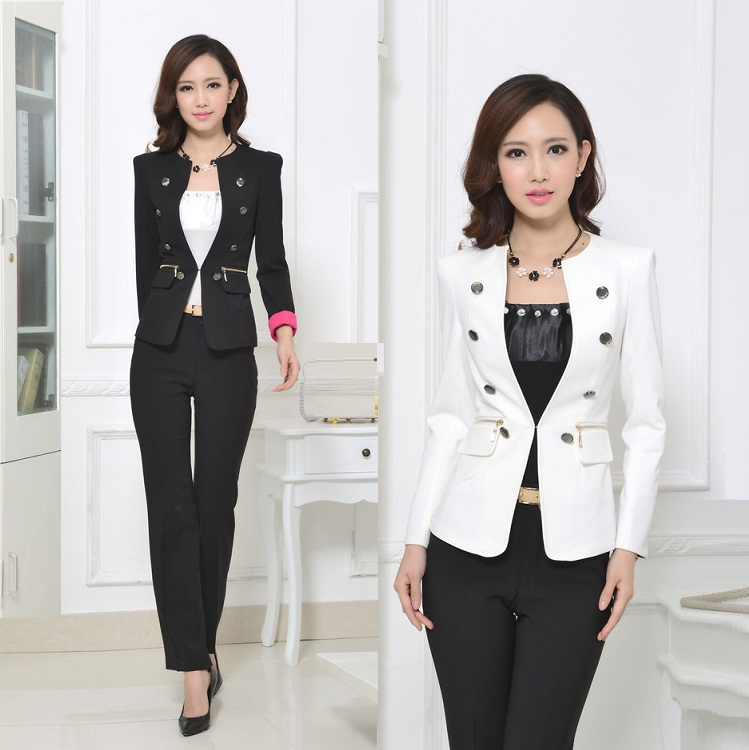 0b1f82a8ad6ec Women Work Wear 2014 Blazer Feminino with Trousers Spa Uniform Pantsuit  Womens Plus Size Formal Pant Suits 2 Colors White Suit en Trajes de  pantalón de La ...