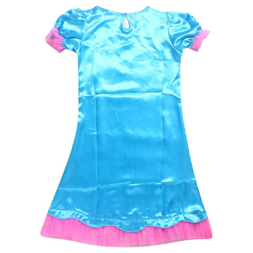 Trolls Poppy Meisjes Fancy Dress Carnaval Kostuums Cosplay Jurk Voor Meisjes Halloween Pruik + Jurk Meisje Verjaardagsfeestje Pruiken Jurk