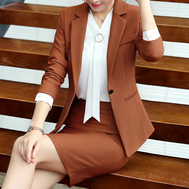 Business Skirt suit women Autumn Winter fashion ladies clothes interview formal blazer and skirt office plus