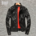 Chaqueta y abrigos de los hombres 100% piel de vaca cuero genuino negro chaqueta moto chaqueta de la motocicleta hombre veste cuir homme cappotto lt778