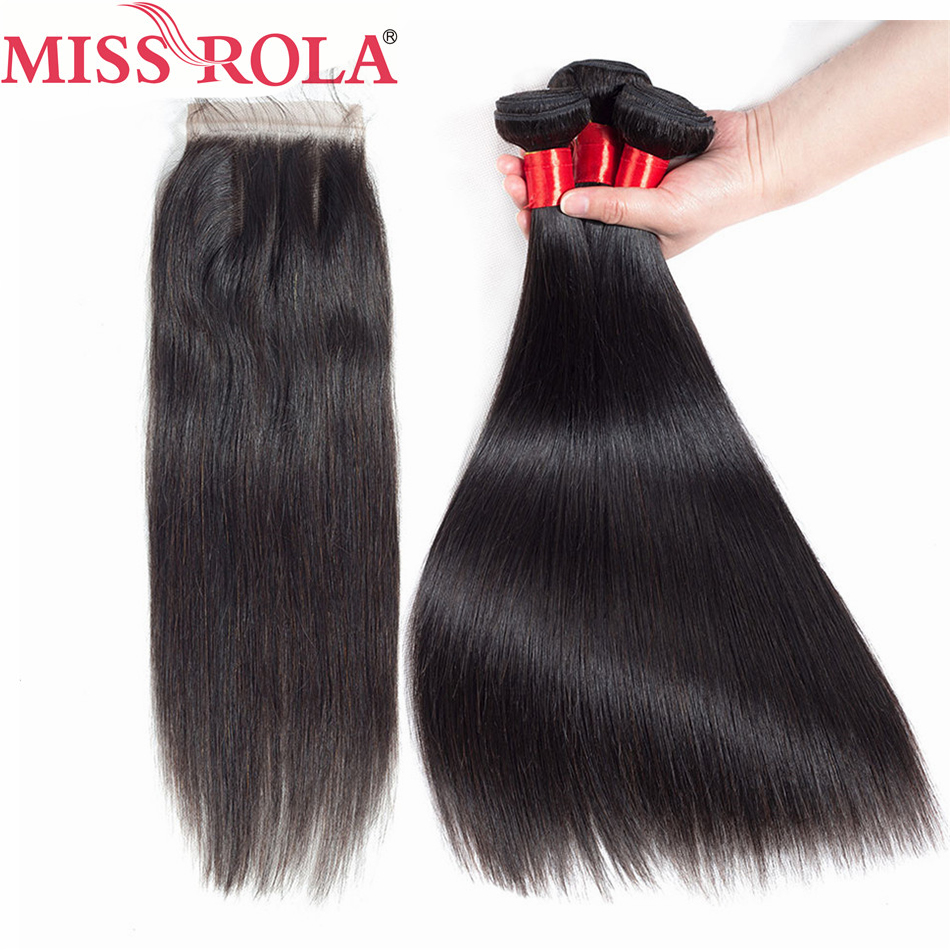 Miss Rola Hair Pre-Colored 100% Human Hair Extensions 100g Malaysian Straight 3 Bundles With Closure Non Remy Hair Bundles