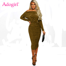 Adogirl Sequins Wire Off Shoulder Ruched Dress Women Sexy Slash Neck Long Sleeve Bodycon Midi Club Party Casual Vestidos