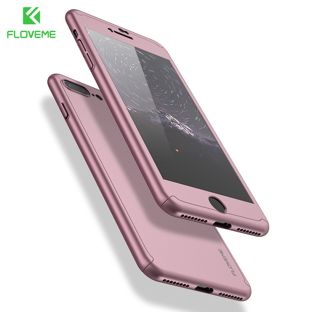 FLOVEME 360 Degree Full Coverage Case For iPhone 6 6S 7 7 Plus Cases Shockproof Slim Hard Case For iPhone 7 Tempered Glass Gift plywood